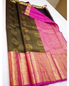 Kanchipuram Handloom Pure Silk Korvai Pink Border Saree