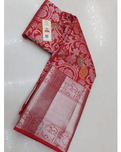 Kanchipuram Handloom Silver Zari Pattern Silk Saree