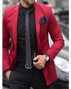 Red Cotton Self Party  Formal Blazer