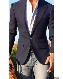Blue Cotton Self Party  Formal Blazer