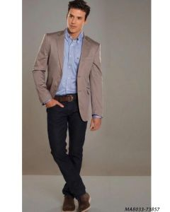 Grey Cotton Self Party  Formal Blazer