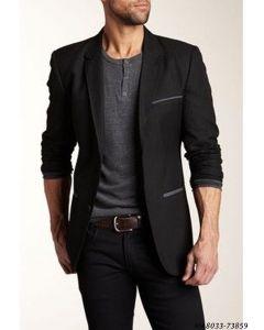 Black Cotton Self Party  Formal Blazer