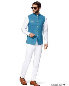 Blue Cotton Self Jodhpuri