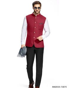 Maroon Cotton Self Jodhpuri