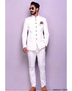 White Cotton Self Jodhpuri
