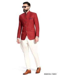 Red Linen Self Jodhpuri