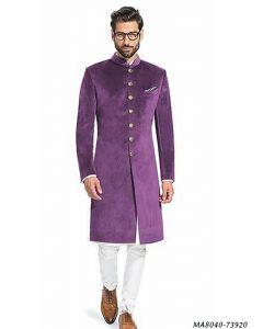 Purple Velvet Self Sherwani