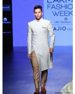 White Cotton Silk Self Sherwani