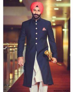 Blue Cotton Self Sherwani