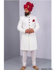 White Cotton Self Sherwani