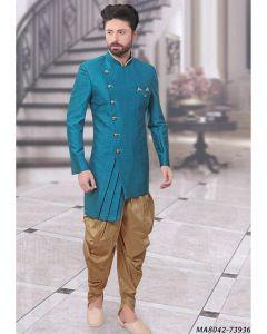 Blue Silk Self Sherwani
