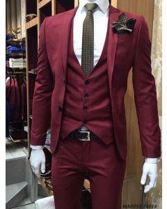 Maroon Cotton Self Tuxedo
