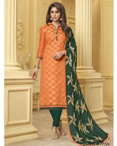 Orange Jacquard Thread Party Designer Salwar Kameez