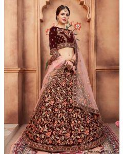 Maroon Velvet Thread Wedding & Bridal Designer Lehenga Choli