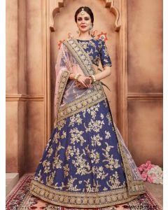 Blue Silk Thread Wedding & Bridal Designer Lehenga Choli