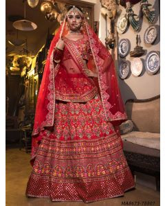 Red Satin Embroidery Wedding & Bridal Designer Lehenga Choli