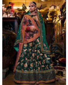 Green Satin Embroidery Wedding & Bridal Designer Lehenga Choli