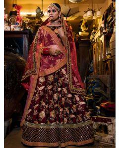 Maroon Satin Embroidery Wedding & Bridal Designer Lehenga Choli