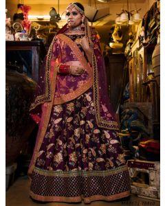 Purple Satin Embroidery Wedding & Bridal Designer Lehenga Choli