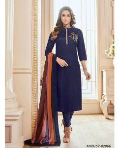 Blue Cotton Printed Party Designer Salwar Kameez