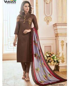 Brown Cotton Printed Party Designer Salwar Kameez