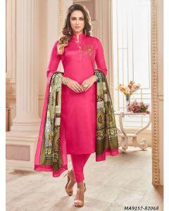Pink Cotton Printed Party Designer Salwar Kameez