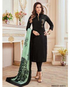 Black Cotton Printed Party Designer Salwar Kameez