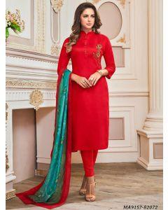 Red Cotton Printed Party Designer Salwar Kameez