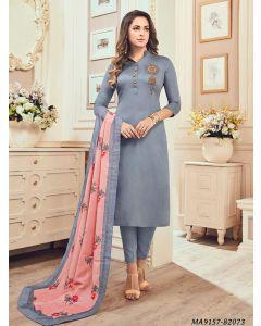 Grey Cotton Printed Party Designer Salwar Kameez