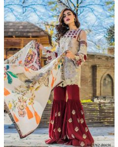 Off White Georgette Resham Ceremony Designer Salwar Kameez