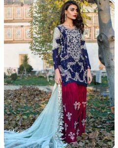Blue Georgette Resham Ceremony Designer Salwar Kameez