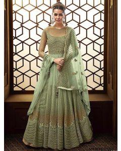 Green Net Multi Party Anarkali Salwar Kameez