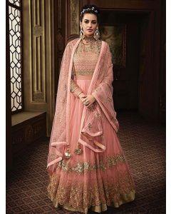 Pink Net Multi Party Anarkali Salwar Kameez