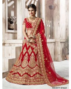 Red Net Zari Wedding & Bridal Designer Lehenga Choli