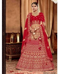 Red Velvet Zari Wedding & Bridal Designer Lehenga Choli