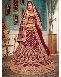 Maroon Velvet Zari Wedding & Bridal Designer Lehenga Choli