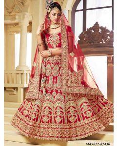Red Satin Zari Wedding & Bridal Designer Lehenga Choli