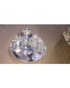 Full Set  Impressive Imported German Silver Washable Plate With German Silver Washable Pooja Thali.