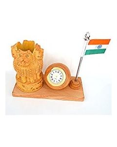 Wooden Flag Watch With Ashoka Pan Stand_6*3. There Will Be Slight Variation In Delivered Products Vs Image. Some Brands May Be Replica.