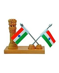 Wooden Ashoka With Double Flag Stand_6*3. There Will Be Slight Variation In Delivered Products Vs Image. Some Brands May Be Replica.