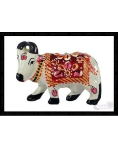 Cow  White Metal Meena Work_1 Inches. There Will Be Slight Variation In Delivered Products Vs Image. Some Brands May Be Replica.