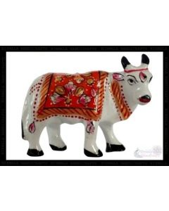 Cow  White Metal Meena Work_2 Inches. There Will Be Slight Variation In Delivered Products Vs Image. Some Brands May Be Replica.
