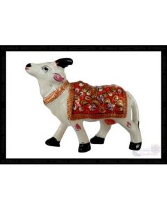 Cow  White Metal Meena Work_3 Inches. There Will Be Slight Variation In Delivered Products Vs Image. Some Brands May Be Replica.