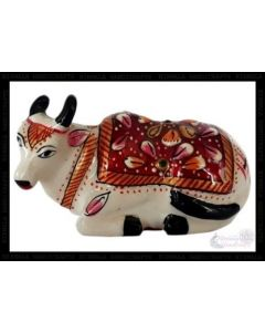 Sitting Cow White Metal Meena Work_2 Inches. There Will Be Slight Variation In Delivered Products Vs Image. Some Brands May Be Replica.
