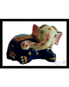 Baby Elephant  White Metal Meena Work. There Will Be Slight Variation In Delivered Products Vs Image. Some Brands May Be Replica.