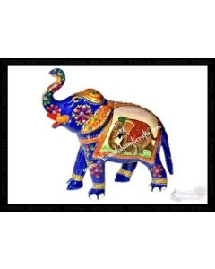 Elephant Painting Elephant    White Metal Meena Work. There Will Be Slight Variation In Delivered Products Vs Image. Some Brands May Be Replica.