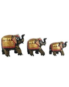 Wooden Painting Elephant Set_2 Inches  3 Inches  4 Inches  . There Will Be Slight Variation In Delivered Products Vs Image. Some Brands May Be Replica.