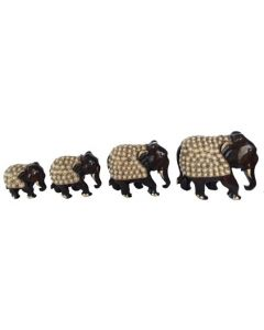 Wooden Stone Work Elephant Set_3 Inches  4 Inches  5 Inches  6 Inches  . There Will Be Slight Variation In Delivered Products Vs Image. Some Brands May Be Replica.