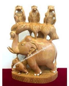 Wooden Elephant Monkey Figer