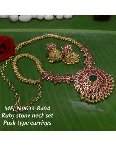 Ruby Stone Necklace Set Push type Earnings